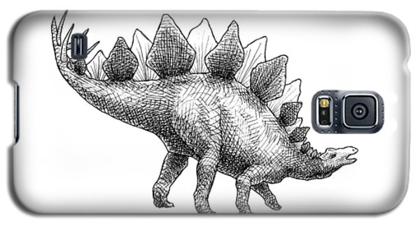 Galaxy S5 Case featuring the drawing Spike The Stegosaurus - Black And White Dinosaur Drawing by Karen Whitworth