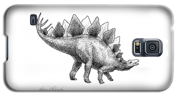 Spike The Stegosaurus - Black And White Dinosaur Drawing Galaxy S5 Case