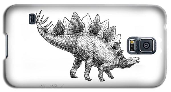Stegosaurus - Dinosaur Decor - Black And White Dino Drawing Galaxy S5 Case