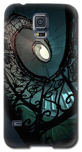 Galaxy S5 Case featuring the photograph Spiral Ornamented Staircase In Blue And Green Tones by Jaroslaw Blaminsky
