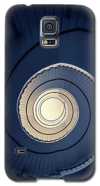 Galaxy S5 Case featuring the photograph Spiral Staircase In Blue And Cream Tones by Jaroslaw Blaminsky