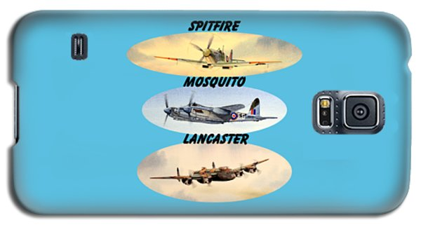 Galaxy S5 Case featuring the painting Spitfire Mosquito Lancaster Aircraft With Name Banners by Bill Holkham