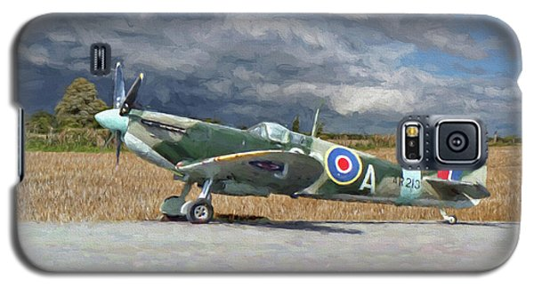 Galaxy S5 Case featuring the photograph Spitfire Under Storm Clouds by Paul Gulliver