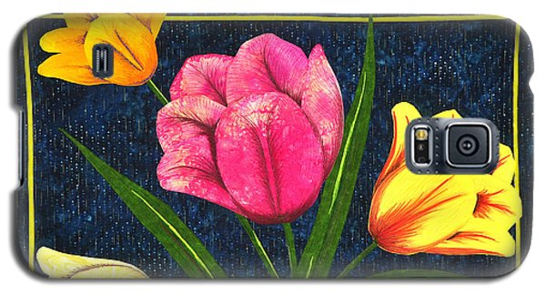 Galaxy S5 Case featuring the tapestry - textile Splash Of Tulips by Jo Baner