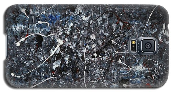 Galaxy S5 Case featuring the painting Splattered - Grey by Jacqueline Athmann