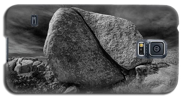 Galaxy S5 Case featuring the photograph Split Rock In Black And White At Joshua Tree National Park by Randall Nyhof