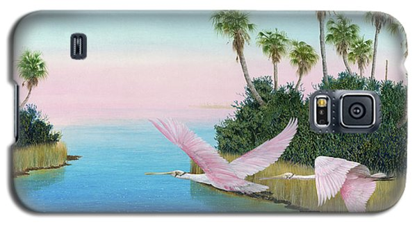 Spoonbills In Flight Galaxy S5 Case