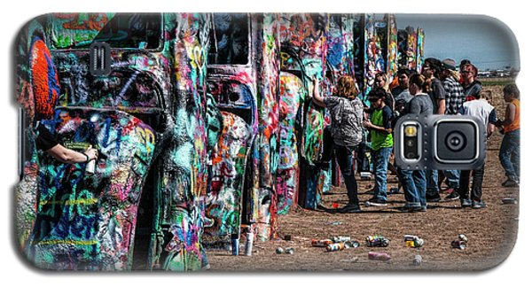 Galaxy S5 Case featuring the photograph Spray Paint Fun At Cadillac Ranch by Randall Nyhof