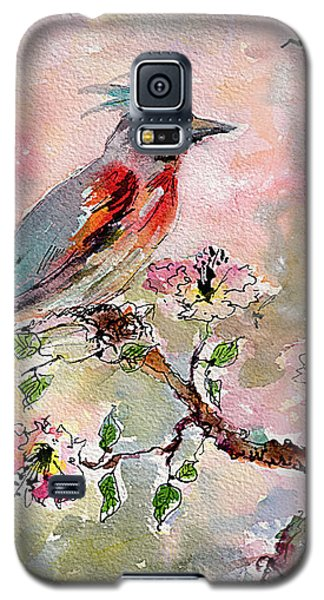 Galaxy S5 Case featuring the painting Spring Bird Fantasy Watercolor  by Ginette Callaway