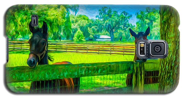 Galaxy S5 Case featuring the painting Spring Colts by Louis Ferreira