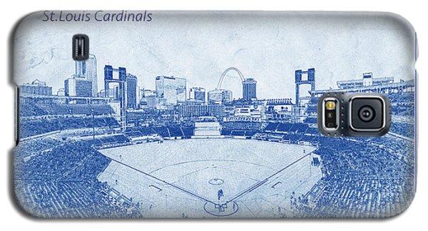 Galaxy S5 Case featuring the photograph St. Louis Cardinals Busch Stadium Blueprint Words by David Haskett