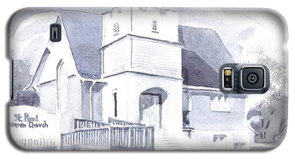 Galaxy S5 Case featuring the painting St. Paul Lutheran Church 2 by Kip DeVore
