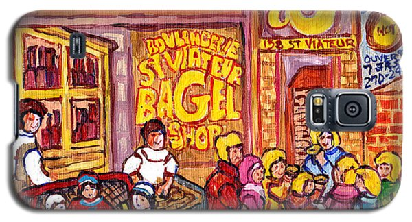 St Viateur Bagel Shop Montreal Art Kids And Bagels Hockey Fun C Spandau Canadian City Scene Painting Galaxy S5 Case