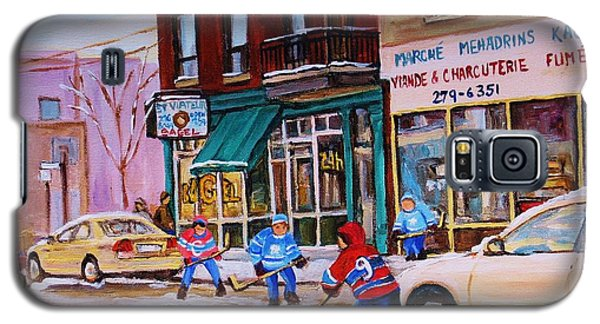 Galaxy S5 Case featuring the painting St. Viateur Bagel With Boys Playing Hockey by Carole Spandau