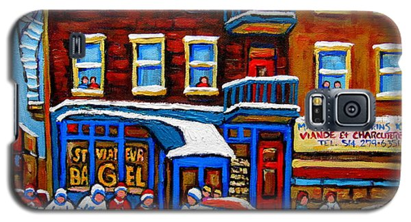 St Viateur Bagel With Hockey Montreal Winter Street Scene Galaxy S5 Case