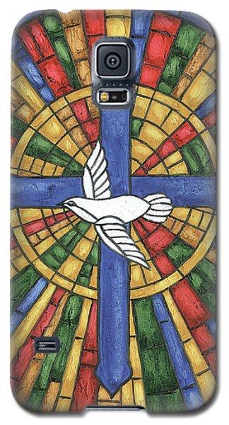 Dove Galaxy S5 Case - Stained Glass Cross by Debbie DeWitt