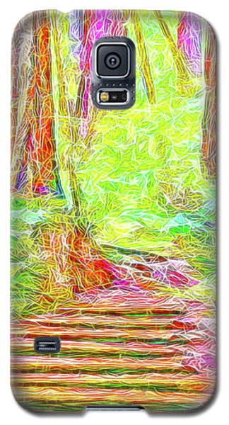 Galaxy S5 Case featuring the digital art Stairway Through The Redwoods - Tamalpais California by Joel Bruce Wallach