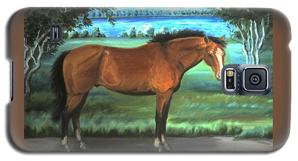 Galaxy S5 Case featuring the painting Stallion Portrait by Dawn Senior-Trask