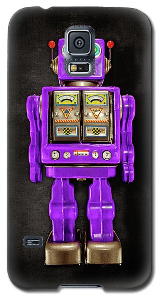 Galaxy S5 Case featuring the photograph Star Strider Robot Purple On Black by YoPedro