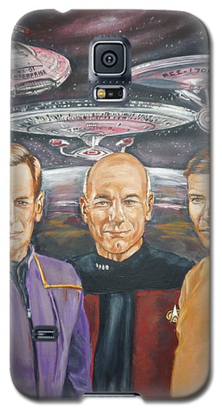 Galaxy S5 Case featuring the painting Star Trek Tribute Enterprise Captains by Bryan Bustard