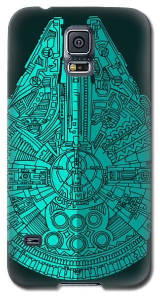 Star Wars Art - Millennium Falcon - Blue 02 Galaxy S5 Case