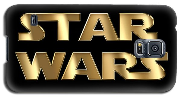 Star Wars Golden Typography On Black Galaxy S5 Case by Georgeta Blanaru