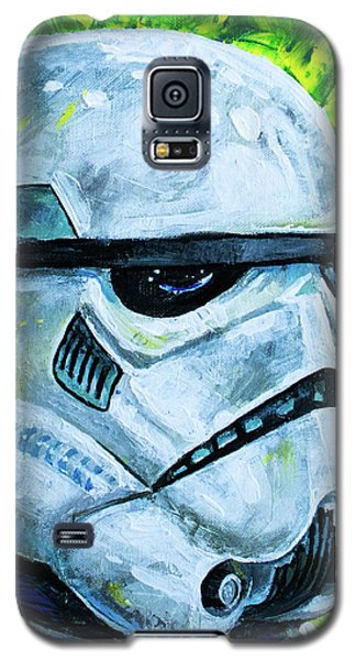 Galaxy S5 Case featuring the painting Star Wars Helmet Series - Storm Trooper by Aaron Spong