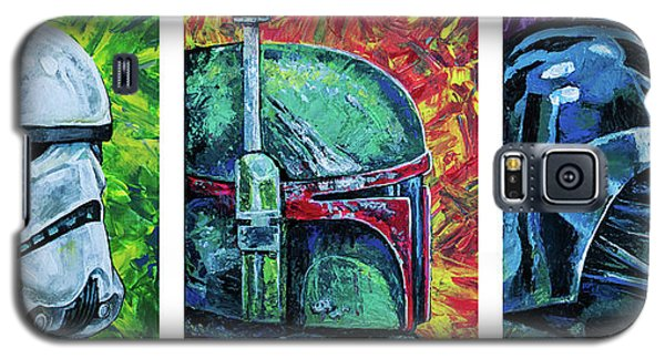 Galaxy S5 Case featuring the painting Star Wars Helmet Series - Triptych by Aaron Spong