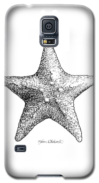Galaxy S5 Case featuring the drawing Starfish Drawing Black And White Sea Star by Karen Whitworth
