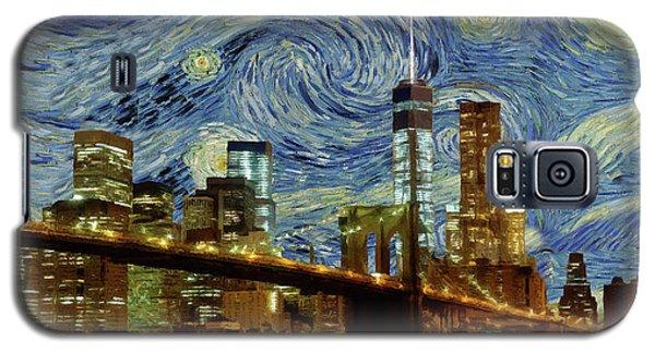 Starry Night Brooklyn Bridge Galaxy S5 Case by Movie Poster Prints