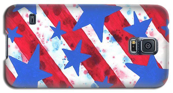 Galaxy S5 Case featuring the painting Stars And Strips  by Darice Machel McGuire