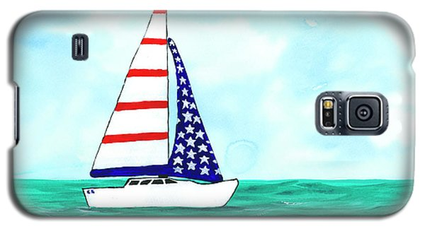 Galaxy S5 Case featuring the painting Stars And Strips Sailboat by Darice Machel McGuire