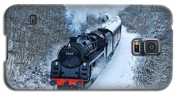 Steam Locomotive 73129 In Snow Galaxy S5 Case
