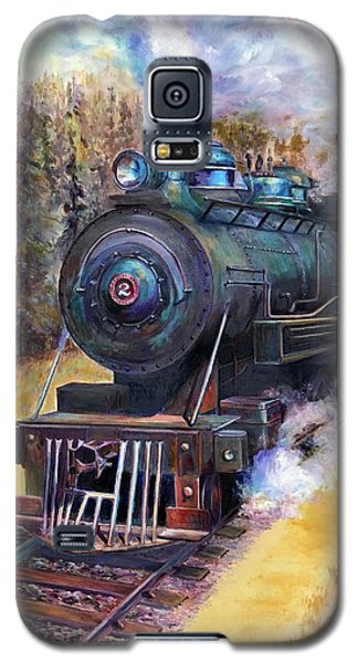 Galaxy S5 Case featuring the painting Steam Through The Pines by Bonnie Goedecke
