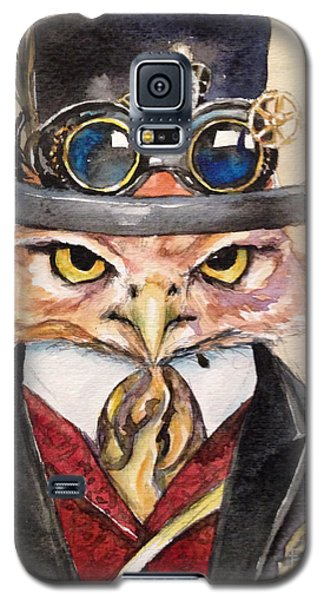 Galaxy S5 Case featuring the painting Steampunk Owl Mayor by Christy  Freeman