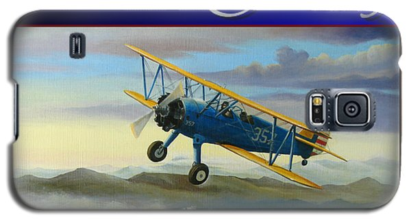 Galaxy S5 Case featuring the painting Stearman Christmas Card by Stuart Swartz