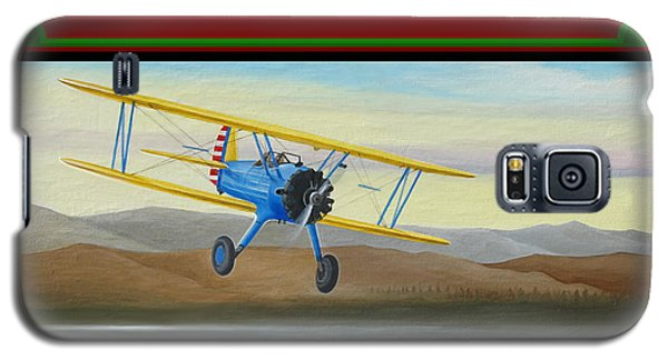Galaxy S5 Case featuring the painting Stearman Morning Flight Christmas Card by Stuart Swartz