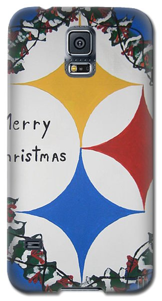 Galaxy S5 Case featuring the painting Steelers Christmas Card by Jeffrey Koss