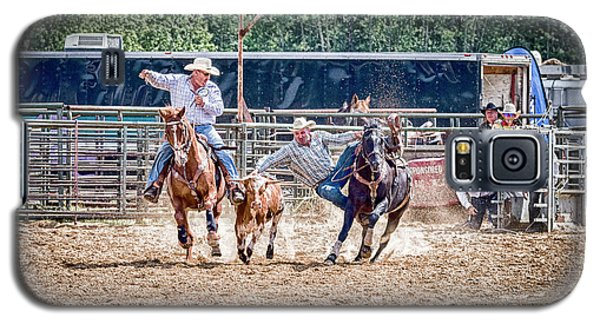 Galaxy S5 Case featuring the photograph Steer Wrestling With An Audience by Darcy Michaelchuk