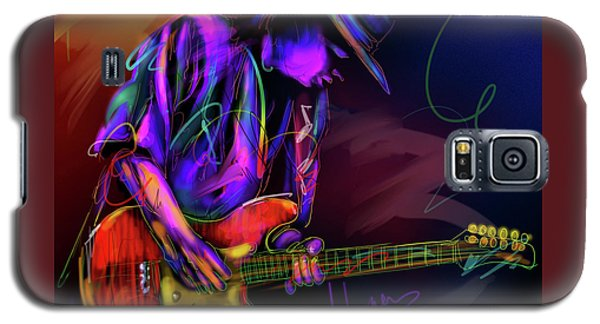 Galaxy S5 Case featuring the painting Stevie Ray Vaughan by DC Langer