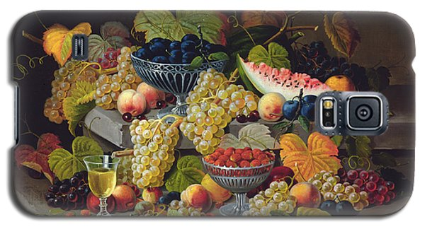 Watermelon Galaxy S5 Case - Still Life Of Melon Plums Grapes Cherries Strawberries On Stone Ledge by Severin Roesen