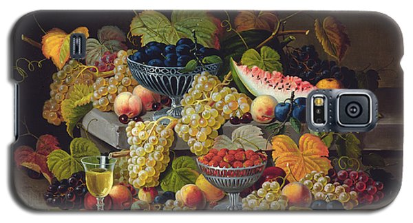 Still Life Of Melon Plums Grapes Cherries Strawberries On Stone Ledge Galaxy S5 Case by Severin Roesen