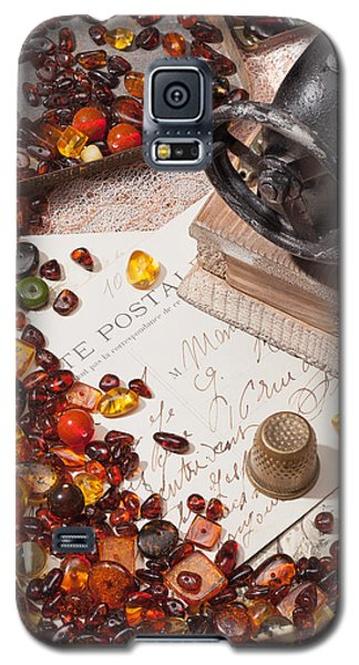 Galaxy S5 Case featuring the photograph Still-life With Amber And Sewing Machines. by Andrey  Godyaykin
