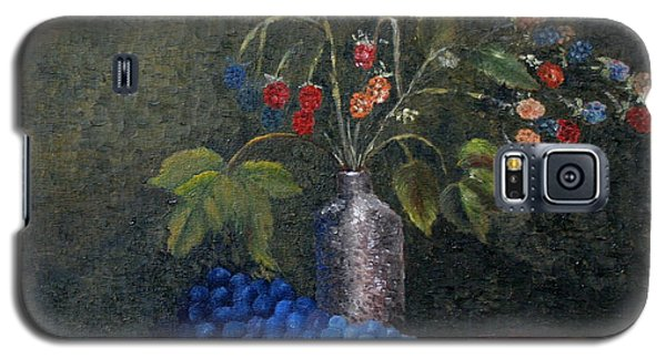 Galaxy S5 Case featuring the painting Still Life With Blue Fruit by Karin Eisermann