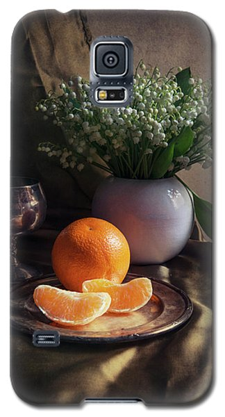 Galaxy S5 Case featuring the photograph Still Life With Fresh Flowers And Tangerines by Jaroslaw Blaminsky