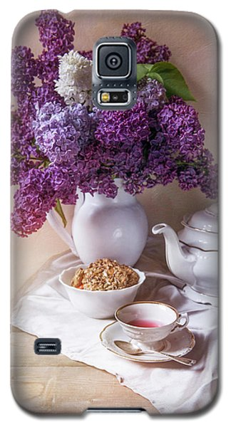Galaxy S5 Case featuring the photograph Still Life With Fresh Lilac And China Pots by Jaroslaw Blaminsky