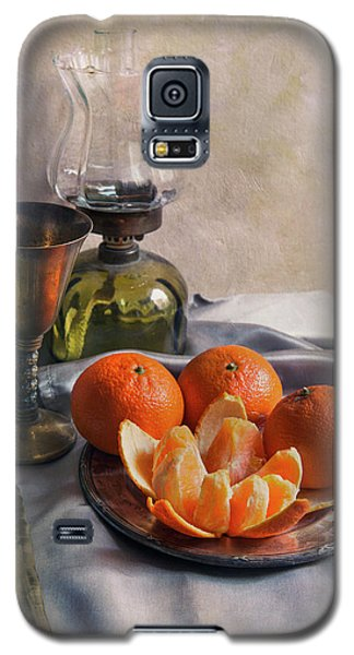 Galaxy S5 Case featuring the photograph Still Life With Fresh Tangerines And Oil Lamp by Jaroslaw Blaminsky