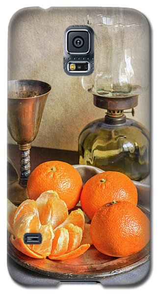 Galaxy S5 Case featuring the photograph Still Life With Oil Lamp And Fresh Tangerines by Jaroslaw Blaminsky
