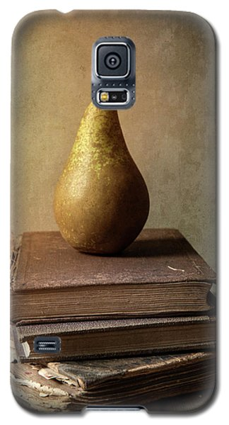 Galaxy S5 Case featuring the photograph Still Life With Old Books And Fresh Pear by Jaroslaw Blaminsky