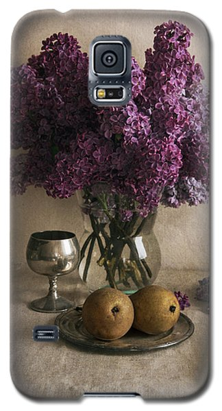Galaxy S5 Case featuring the photograph Still Life With Pears And Fresh Lilac by Jaroslaw Blaminsky